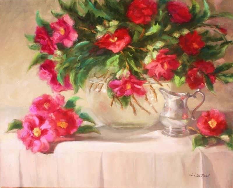 Camellias & Silver
