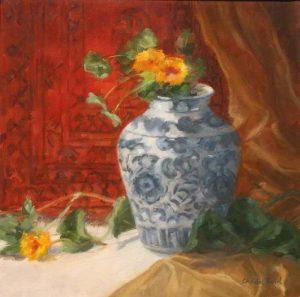 Chinese Vase & Nasturtiums
