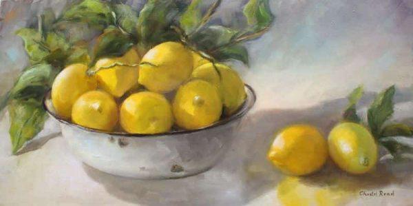 Lemons In Enamel Bowl