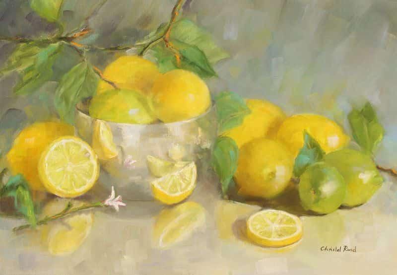 Lemons In Silver Bowl