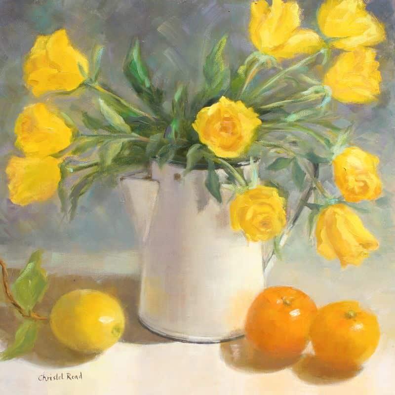 Yellow Roses in Jug